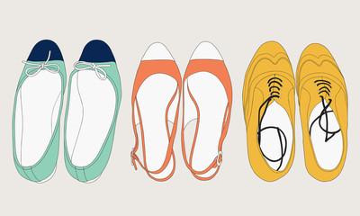 Summer shoes set. Fashion illustration