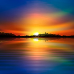 abstract nature sunrise background with forest lake