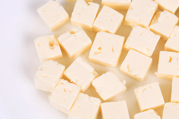 Tasty soft cheese closeup.