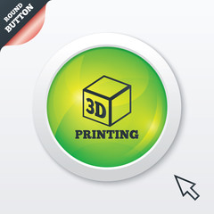 3D Print sign icon. 3d cube Printing symbol.