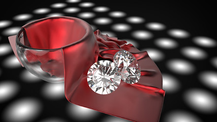 diamond on red silk and glass