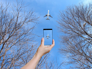 take photo of airplane