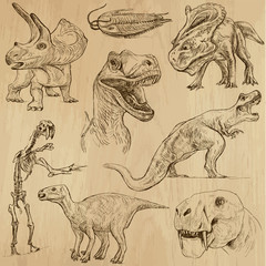 Dinosaurs no.3 - an hand drawn illustrations, vector set