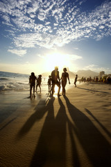 Silhouettes of Carioca Brazilians Playing Altinho Beach Football