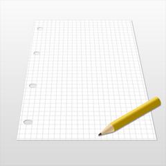 Foglio a quadretti con matita