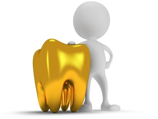 3d white man standing next to tooth