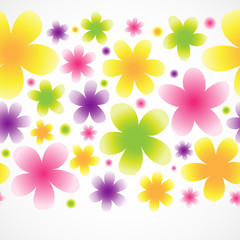 Bright floral seamless border on light background.