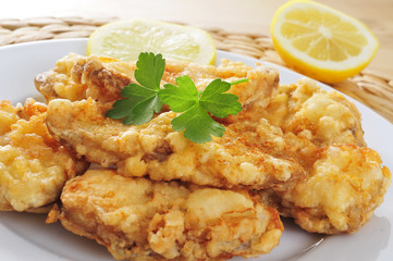 spanish rape rebozado, battered and fried angler