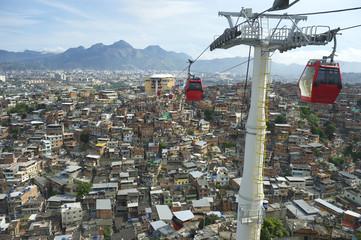 Rio de Janeiro Favela Slum with Red Cable Cars