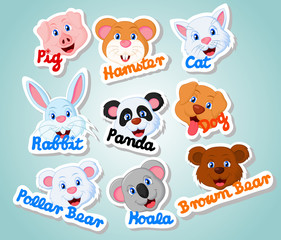 Head Cute Pet Sticker Set