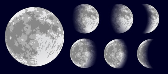 Moon phases. Vector illustration.