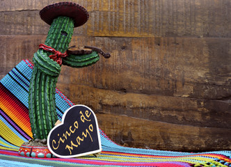 Happy Cinco de Mayo, 5th May, with fun cactus