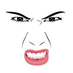 Angry young woman portrait. Vector illustration.