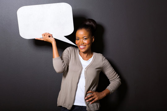 young african american woman with speech bubble