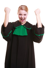 Female lawyer attorney wearing classic polish black green gown