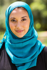 Muslim woman closeup portrait outdoors