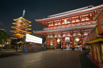 Night shot of Sensoji Asakusa Temple, Tokyo, Japan