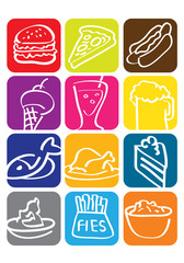 12 vector drawn illustration icon for food