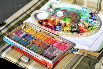 Chalk colors and colors pallet