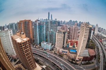 modern city with fisheye view in shanghai