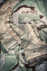 Combat boots against Air Force desert uniform