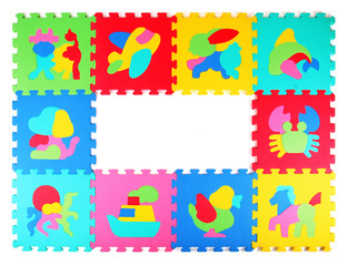 Multicolored frame of foam puzzle