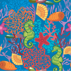 Seamless nautical pattern on blue background with sea horses, fi