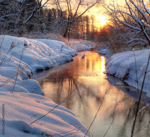 Wall mural Forest River. winter sunset