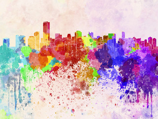 Wall Mural - Miami skyline in watercolor background
