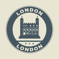 Stamp or label with word London inside, vector