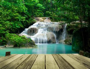 Waterfall in tropical forest at Erawan national park Kanchanabur