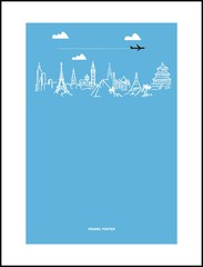 Travel and tourism poster . Drawn hands world attractions