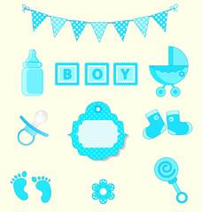 Baby boy set of design element for scrapbook blue colors