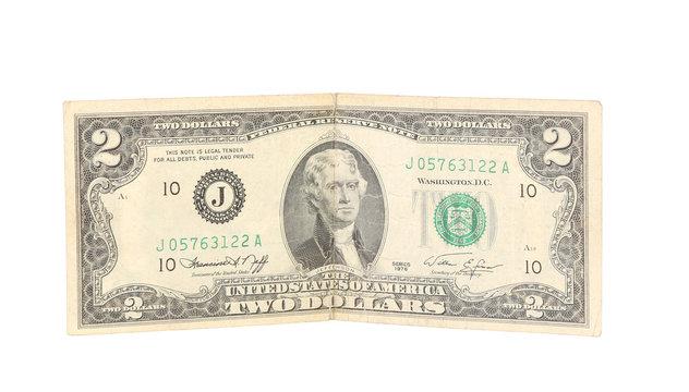 United States two dollar bill.
