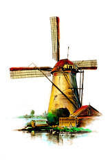 windmill old retro vintage drawing color