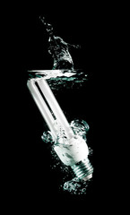 light bulb drops into water