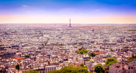 Wall Mural - Panoramic view of Paris from Montmartre in dreamy postcard style