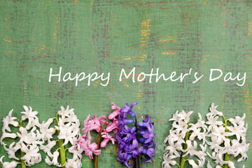 Beautiful hyacinths on color wooden background