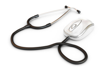 Online medical. Stethoscope attached to a computer mouse.