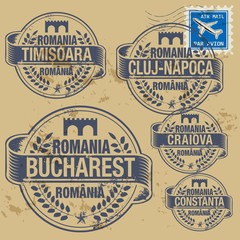 Grunge rubber stamp set with names of Romania cities