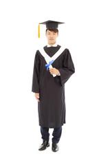 Full length of happy asian graduating student