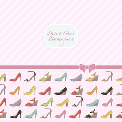Shoes background with diagonal lines. Pink polka dot back.