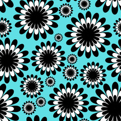 abstract monochrome floral seamless pattern in over tiffany blue