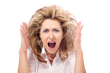 Enough! Angry woman screaming in a frustration