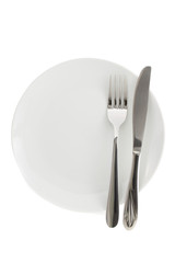 plate, knife and fork  on white background