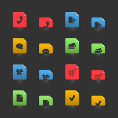Online shopping iconset on moving stubs