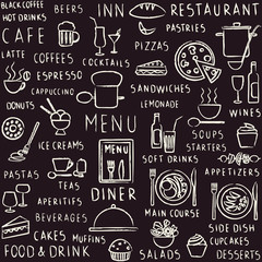 Hand drawn restaurant related seamless pattern on blackboard