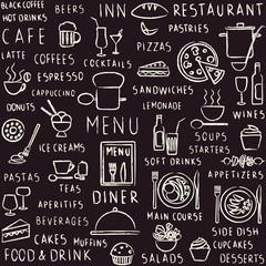 Hand drawn restaurant related seamless pattern on blackboard