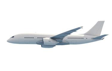 Poster Avion à Moteur 3D Airplane on White Background