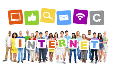 Multi-Ethnic Group Of People Holding Internet